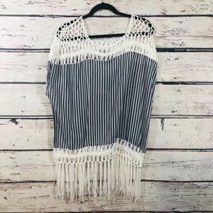 Steve Madden Crochet Fringe Coverup/Poncho